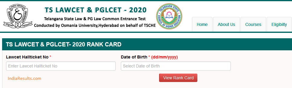 TS Lawcet rank card 2020